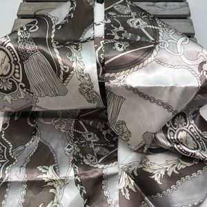 Dennis Basso Signed Taupe Multi Chain Scarf Wrap